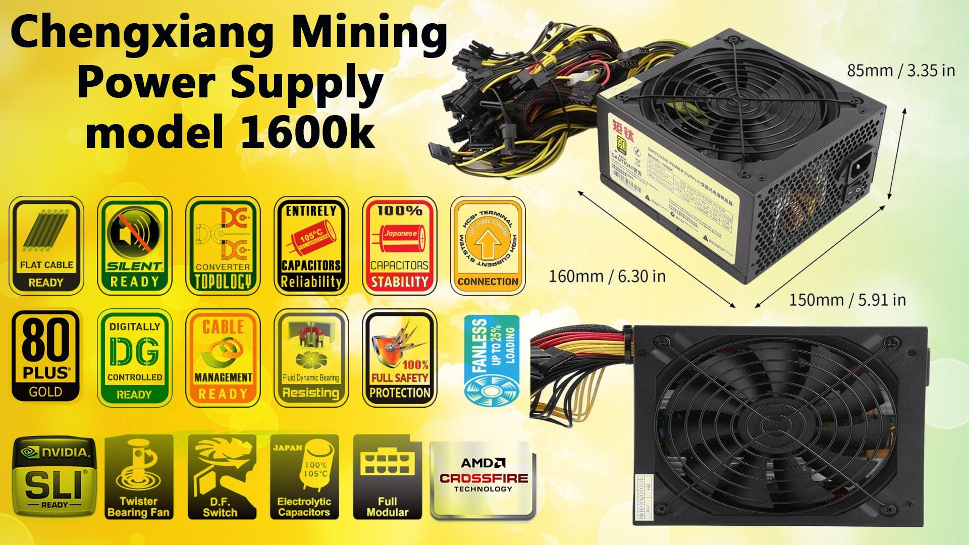 پاور کامپیوتر 1600 وات مدل Chengxiang Mining Power Supply model 1600k