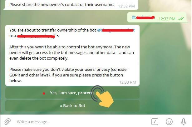 انتقال سریع ربات تلگرام به شخص دیگر