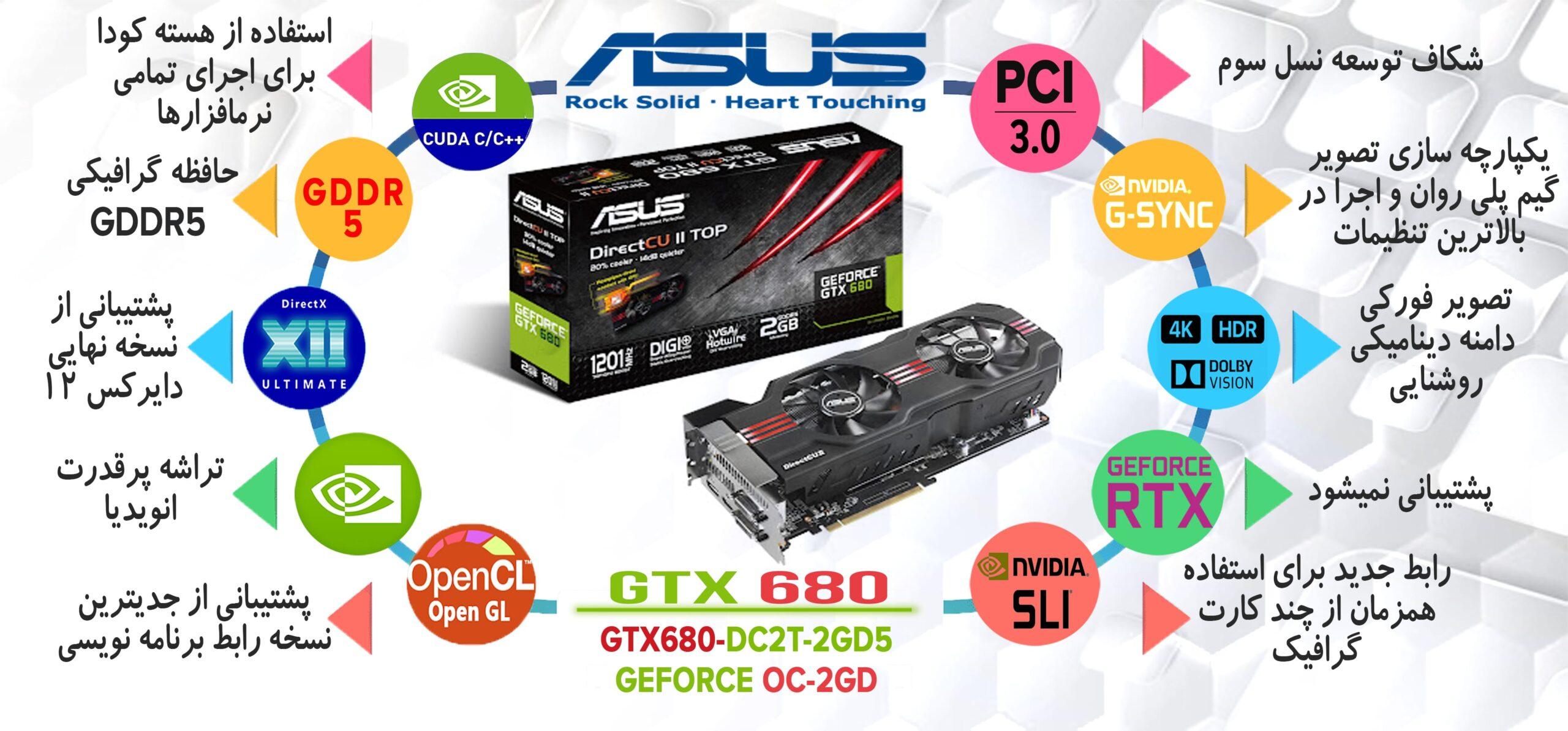 کارت گرافیک ایسوس ASUS GTX 680 Directcu ii 2GB